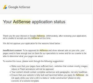 Google AdSense -insufficient content