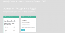 You Don't Need To Create A Profile On Jamb CAPS Portal To Accept 2017 Admission