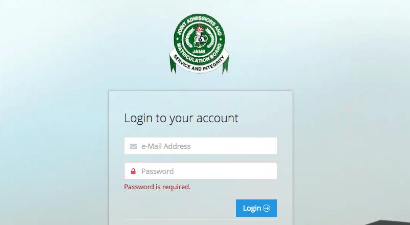 jamb login result portal