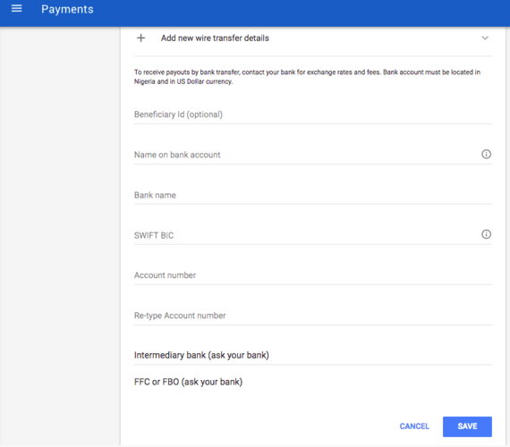 How To Fill Nigerian Adsense Payment Details