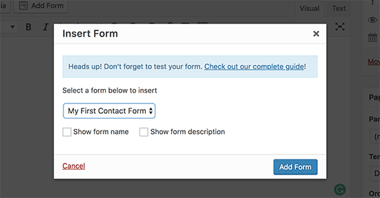 Insert wordpress form