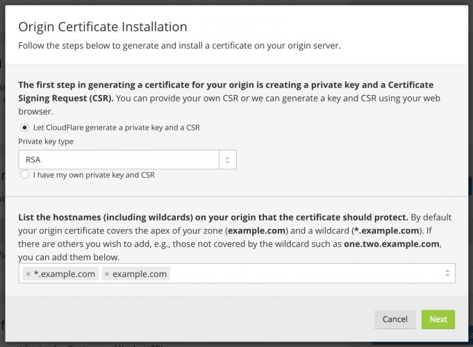 origin certificate installation