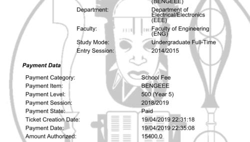 my uniben school fees