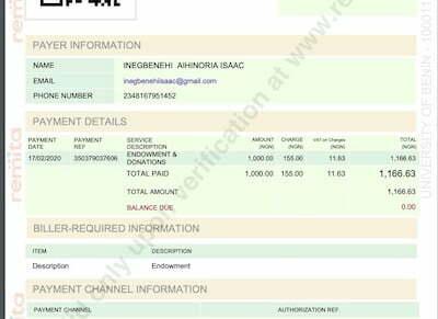 Endowment receipt for Uniben