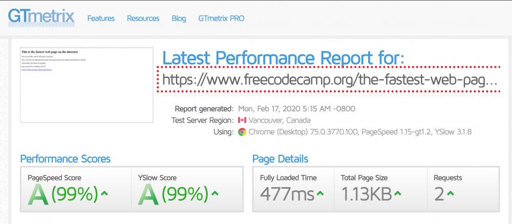 fastest page on gtmetrix