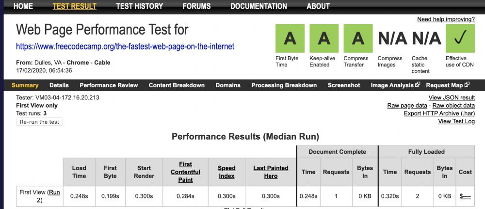 fastest page on webpagetest