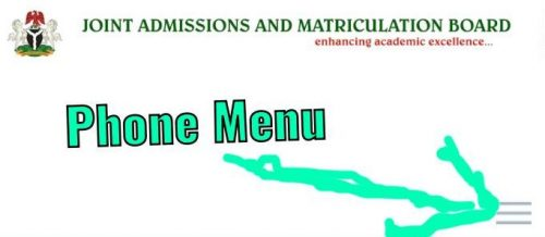Jamb.gov.ng mobile menu